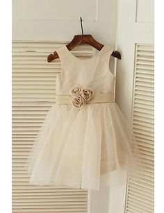 Vestido+de+niña+de+las+flores+Corte+A+-+Escote+Joya+-+Hasta+la+Rodilla+(+Satén/Tul+)+–+MXN+$+845.33