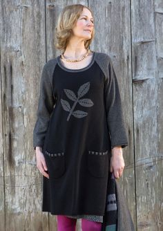 """""""Leaf"""" wool tunic – Green winter – GUDRUN SJÖDÉN – Webshop, mail order and boutiques 