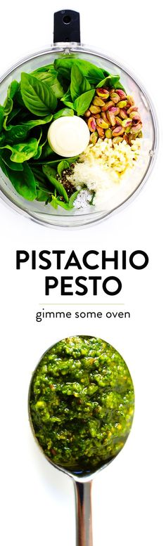 This delicious Pistachio Pesto recipe is easy to make in the blender or food processor, and so fresh and delicious! Use it as a sauce for pasta, pizza, veggies, chicken. Vegetarian Recipes, Cooking Recipes, Healthy Recipes, Top Recipes, Healthy Meals, Pesto Recipe, Pesto Sauce, Eating Raw, Healthy Eating