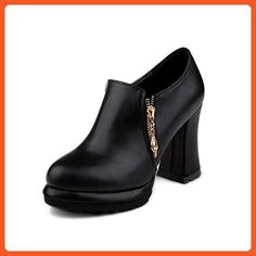 Women's Pu High Heels Closed Round Toe Solid Zipper Boots Black 37