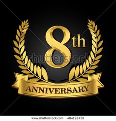 8th golden anniversary logo, 8 years anniversary celebration with ring and ribbon. - stock vector