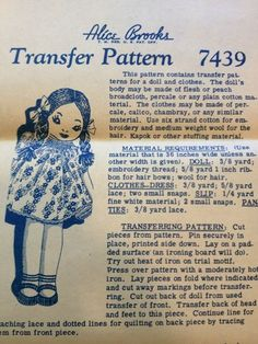 Vintage 40s Alice Brooks Designs Doll and Clothes Transfer Pattern 7439 UNCUT