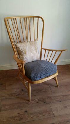 Stunning-Vintage-Retro-Mid-Century-Modern-60s-70s-ERCOL-Evergreen-Armchair