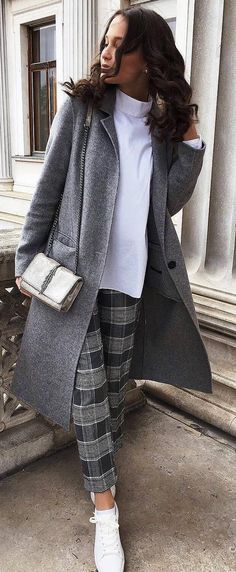 what to wear with a plaid pants : coat + white top + bag + sneakers