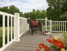 A glass of wine on a deck in beautiful weather. Composite Decking, Railing and Fencing Photos - TimberTech Deck Railing Height, Composite Deck Railing, Timbertech Decking, Wpc Decking, Deck Balusters, Plastic Decking, Deck Colors, Stair Railing Design, Palette