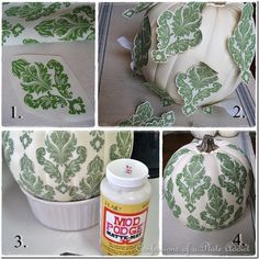 Mod Podge a dollar store pumpkin.  This tutorial used a copy of fabric.  You could use paper napkins or wrapping paper also.