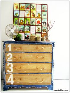 Scrumptious dresser - working on one now with a similar theme! Cool! Chalk Paint Furniture, Diy Furniture Projects, Refinished Furniture, Furniture Refinishing, Furniture Redo, Wood Projects, Furniture Design, Cheap Wall Art, Art Wall Kids