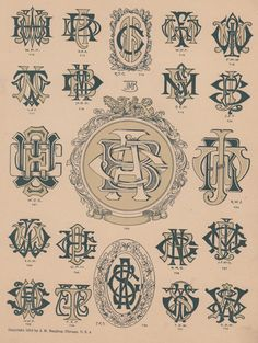 Not that they ever left, but monograms are back. Once the accessory of the aristocratic, the monogram is a vibrant and vital piece of graphic design. Logo Design, Monogram Design, Monogram Fonts, Monogram Initials, Monogram Letters, Vintage Monogram, Vintage Typography, Typography Logo, Logos