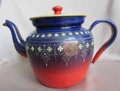 French Vintage Enamel Tea Pot - BB Mark - Red and Dark Blue Enamelware Flowers - French Country Cottage Kitchenware Graniteware by MyOldCollection on Etsy https://www.etsy.com/listing/450715816/french-vintage-enamel-tea-pot-bb-mark