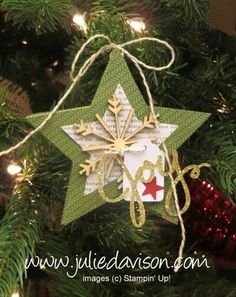 Julie's Stamping Spot -- Stampin' Up! Project Ideas Posted Daily just using stars and snowflakes dies! Stampin Up Christmas, Christmas Paper, Christmas Gift Tags, Homemade Christmas, Christmas Holidays, Christmas Tags Handmade, Stampin Up Many Merry Stars, Xmas Ornaments, Christmas Decorations