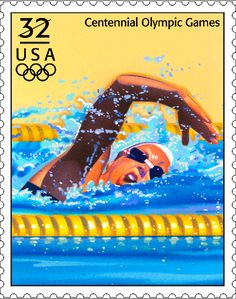 Issued in 1996 to commemorate the Olympic Games in Atlanta, Georgia, this women's swimming stamp celebrates one of the most popular Olympic sports.