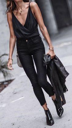 #summer #outfits Black Tank + Black Skinny Jeans + Black Booties