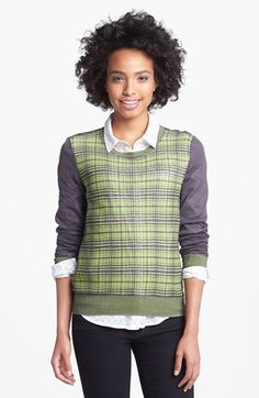 Halogen® Plaid Colorblock Sweater (Regular & Petite) available at #Nordstrom