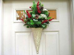 Christmas Wreaths, Christmas Door Decoration, Holiday Berry Wreath, Pine Door Wreath, Double Doors, Winter Wedding Wreath by AWorkofHeartSA, $70.00