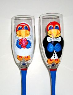 Jayhawk Hand Painted Champagne Flutes Set by SharonsCustomArtwork, $45.00