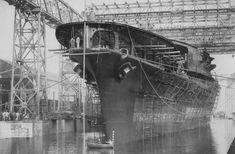 Aircraft carrier Akagi at Kure Naval Arsenal, Japan, 6 Apr 1925