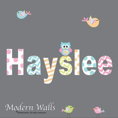 Decal Vinyl Wall Decal Sticker name with patterns owl birds Cute Baby Names, Unique Baby Names, Baby Girl Names, My Baby Girl, Kid Names, Different Baby Names, Nursery Wall Decals, Wall Decal Sticker, Future Maman
