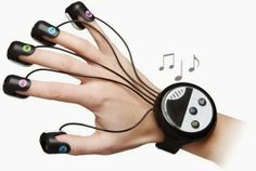 Japanese Wrist-Mounted Finger Piano is very portable