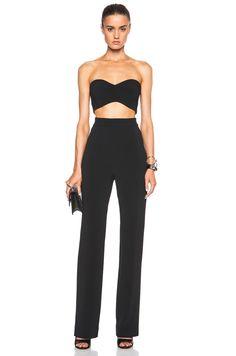 Cushnie et Ochs FORWARD EXCLUSIVE Stretch Cady Strapless Jumpsuit in Black