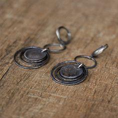 fad2231a0 Rustic Silver Earrings, Raw Silver Disc Earrings, 925 Sterling Silver  Earrings, Dangle Drop Hoop Earrings, Simple Oxidized Silver Earring