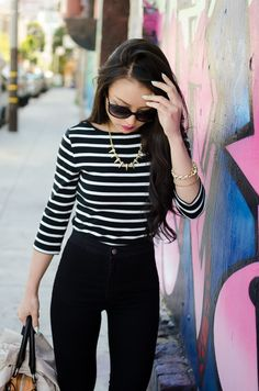"Stripes + Highwaisted ""Easy Jean"" 