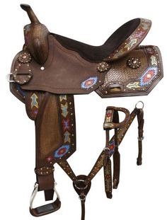 Economy barrel style saddle set with painted arrow design. This saddle features rough out leather that is accented basket weave tooling and metallic painted Equestrian Boots, Equestrian Outfits, Equestrian Fashion, Equestrian Style, Riding Hats, Riding Helmets, Horse Riding, Riding Gear, Barrel Saddle