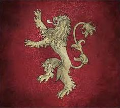 "Songs of Ice and Fire, House Lannister sigil. A golden lion rampant on a crimson field. Their motto is ""Hear Me Roar!"""