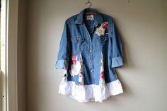 CUSTOM ORDER BONNIE Refashioned Denim Shirt от BentEdgeAlchemy
