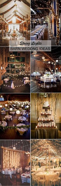 string lighting barn wedding reception ideas