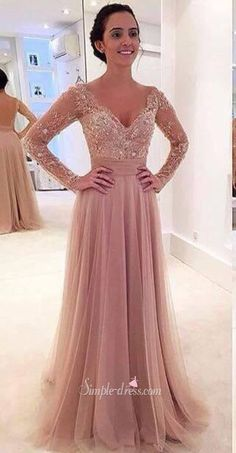 2016 long prom dresses, long sleeves blush pink prom dresses, 2016 long sleeves sheer prom dresses with detachable train