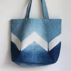 Naturally Dyed Organic Cotton Tote Shopper Bag - Indigo Shibori Chevron / Zig…