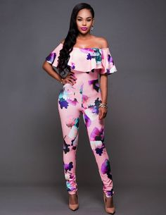 """Michelle"" Floral Off the Shoulder Jumpsuit"