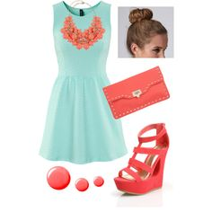Tiffany Blue and Coral by marchantbaleigh on Polyvore