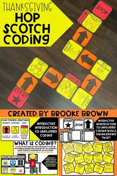 Interactive, unplugged coding with a Thanksgiving twist! Perfect for Kindergarten, First Grade, Second Grade, and Third Grade | Hop Scotch Coding