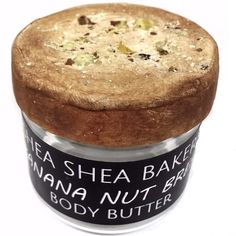 Creamy whipped body butter that looks just like a slice of fresh baked Banana Nut Bread with nuts and smells just like it. Each jar is unique and handmade to order. Real nuts used on each jar! - MADE