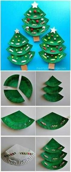 Christmas Tree Crafts, Preschool Christmas, Christmas Projects, Preschool Crafts, Holiday Crafts, Christmas Crafts For Preschoolers, Christmas Crafts Paper Plates, Christmas Activities For Children, Kids Christmas Cards