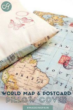 One of a kind world map and postcard pillow cover made by Isabel, artisan from Spain! Comes with textile pen for your personalized messages.