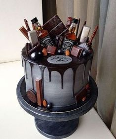 The Groom's Cake – A Brief History & Inspiration — Marrygrams // Bourbon and chocolate are the groom's cake version PB & J. Add tiny bottles of Jack to really get the party started. - The Groom's Cake - A Brief History & Inspiration Bolo Jack Daniels, Jack Daniels Birthday, Jack Daniels Party, Jack Daniels Cupcakes, Cake Cookies, Cupcake Cakes, Liquor Cake, Liquor Bottle Cake, Alcohol Cake