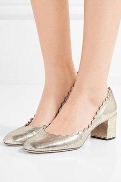 Chloé - Lauren Scalloped Metallic Cracked-leather Pumps - Gold - IT39.5
