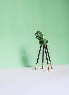 Ten Lutrario chairs by Carlo Mollino - chocolate-coated biscuit sticks and pistachio macaron - dimensions 8 x 8 x 6 cm art direction Yara De Nicola - gallery Alla Carta