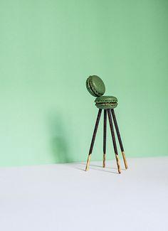 Ten Lutrario chairs by Carlo Mollino - chocolate-coated biscuit sticks and pistachio macaron - dimensions 8 x 8 x 6 cm art direction Yara De Nicola - gallery Alla Carta