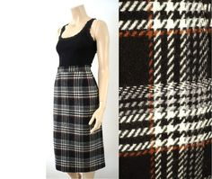 WEILL French Vintage Checkered Wool Midi Skirt