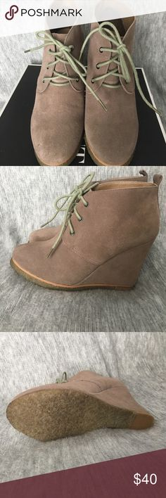 """Wedge bootie Shoemint suede Lace up Wedge bootie, never worn. Heel height is 4"""". Shoemint Shoes Wedges"""