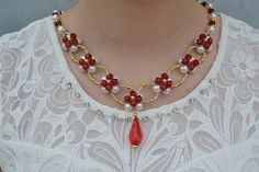 How to Make a Pretty Red and White Beaded Flower Necklace
