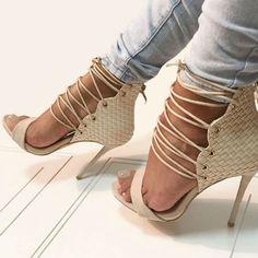 Elegant Lace Up Stiletto Heels