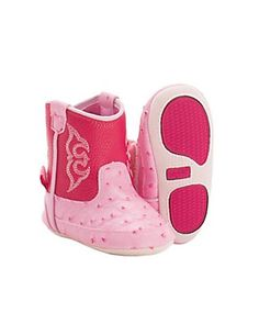 M&F Infant Kinsley Pink Ostrich Print Western Booties