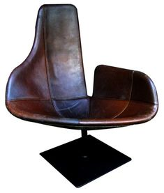 Fjord chair in antique leather - Patricia Urquiola