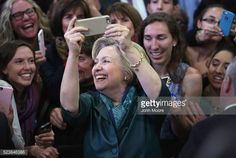Democratic Presidential candidate Hillary Clinton takes selfies with supporters at a campaign rally on April 24, 2016 in Bridgeport, Connecticut. Candidates are campaigning ahead of Tuesday's primary...