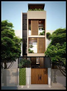 29 Best Modern Dream House Exterior Designs You Will Amazed - Flat House Design, Narrow House Designs, House Front Design, Modern House Design, Small House Exteriors, Modern Tiny House, Dream House Exterior, Style At Home, Zeitgenössisches Apartment
