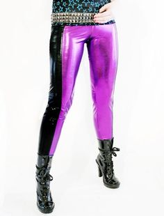 Glamorama purple & black wet look spandex tights by Agoraphobix - StyleSays